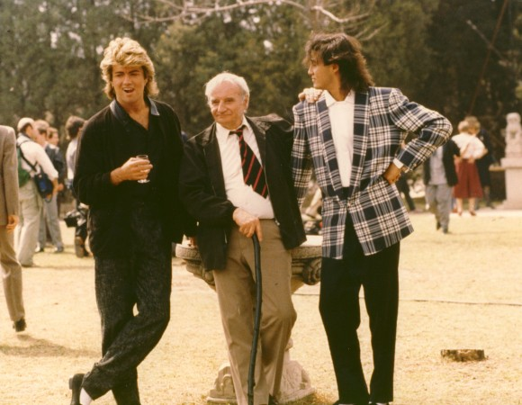 George Michael (L), Andrew Ridgeley (R), at center: director Lindsay Anderson (no joke)