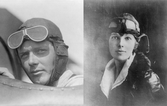 Charles Lindbergh (L), artist's rendering of what Lindbergh's baby would look like as a grown man (R)