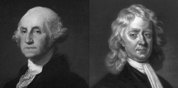 "George Washington (L), Sir Isaac ""Juice"" Newton (R)"