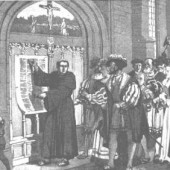 "Martin Luther, seen here making the original ""wall post"""