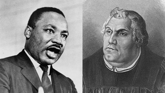 "Martin Luther King, Jr. (L), Martin ""M-Luth"" Luther (R)"