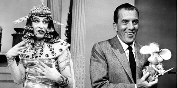 Milton Berle in drag (L), Imogene Coca in Ed Sullivan drag (R)