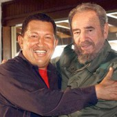 Hugo Chavez (L), Fidel Castro Body Double #7 (R)