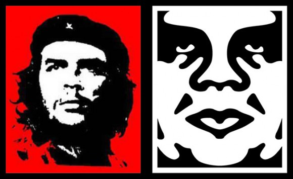Che Guevara (L), Andre the Giant, sans posse (R)
