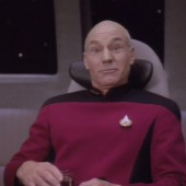 "Captain Jean-Luc Picard, as seen in the episode ""Keeping Up with the Cardassians"""