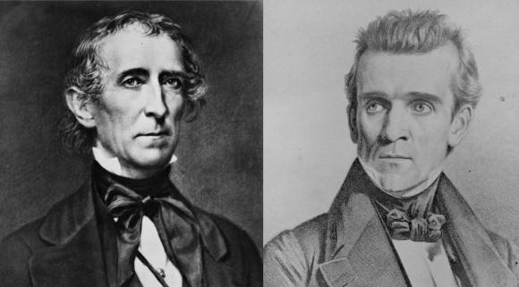Republican (?) President John Tyler (L), Whig (?) President James Polk (R)
