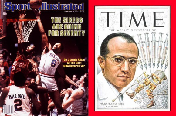 At left: Dr. Julius Erving; at right: Dr. Jonas Salk; also pictured: some random dudes getting posterized.