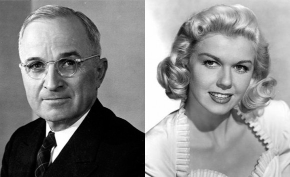 """Give 'Em Hell"" Harry Truman (L), Doris ""The World's Oldest Virgin"" Day (R)"