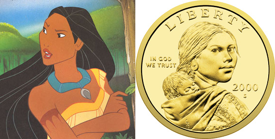 Pocahontas as depicted by Disney (L), Sacagawea as depicted by the U.S. Mint (R)