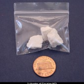 "Seen here: a potent form of cocaine rock, known to users as ""penny nose candy."""