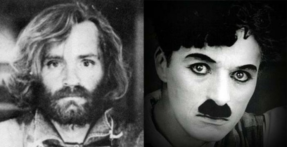 Facial hair enthusiasts Charles Manson (L) and Charlie Chaplin (R)
