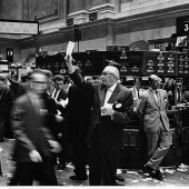 A stockbroker in action, seen here cornering the Brangelina market.