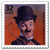 Charlie Chaplin, seen here on a U.S. postage stamp, an honor Charles Manson has yet to earn.