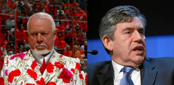 At right: Former UK prime minister Gordon Brown, at left: Canada's prime minister (artist's interpretation)