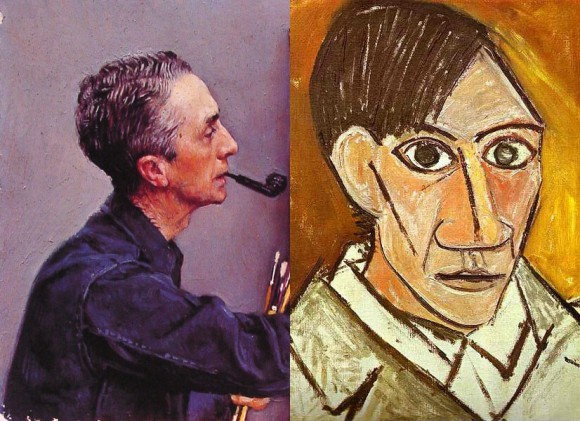 Norman Rockwell painted one of these portraits, while Picasso did the other. Can you tell who did which?
