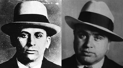Two men with similar tastes in criminal activities and hats: Meyer Lansky (L), Al Capone (R)