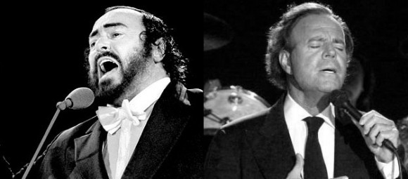 At right: Julio Iglesias singing to all the girls he's loved before, at left: Luciano Pavarotti singing to all the ham he's loved before.